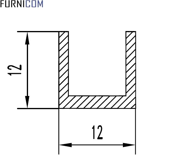 Швеллер алюминиевый 12х12х1.5 / б.п